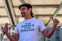 June 3, 2017 - New York, New York, United States - Javier Munoz, who plays the lead in Broadway's ''Hamilton,'' sang a patriotic song compilation  - Hundreds of people marched on June 3, 2017; through lower Manhattan to demand an impartial investigation into alleged Russian interference in the presidential election. The ''March for Truth'' was one of many demonstrations held nationwide calling for an investigation into ties between Russia and Donald Trump and his associates. (Credit Image: © Erik Mcgregor/Pacific Press via ZUMA Wire)