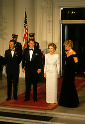 Prince Charles, Prince of Wales, and Diana, Princess of Wales, visit Washington DC. Gala Dinner at the White House, Ronald Reagan, President of the USA, and First Lady Nancy Reagan. EXPA Pictures © 2016, PhotoCredit: EXPA/ Photoshot/ John Shelley Collection<br /> <br /> *****ATTENTION - for AUT, SLO, CRO, SRB, BIH, MAZ, SUI only*****