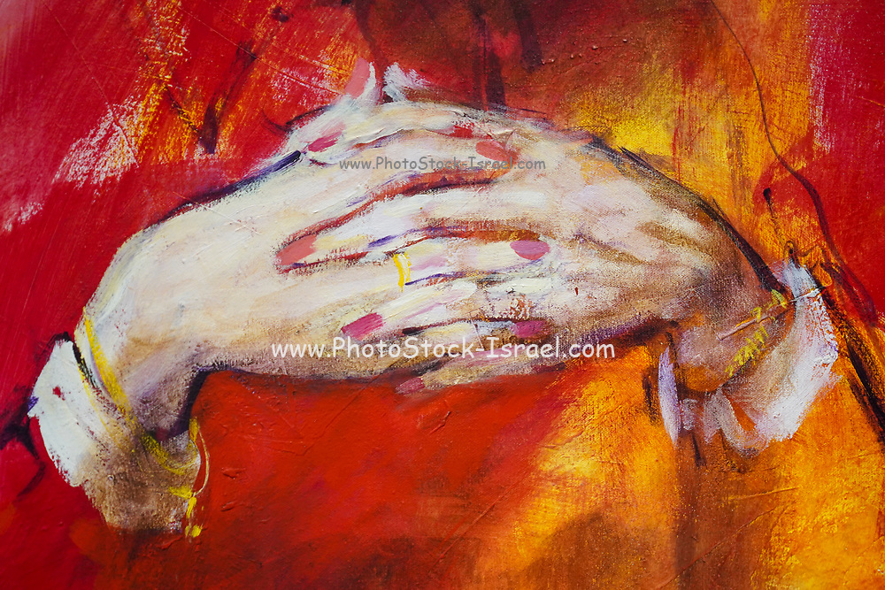 close up of a painting of hands at the Ralli Museum, Caesarea, Israel.