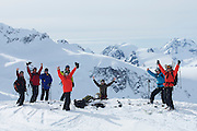 A group of heliskiers at Points North Heliskiing in Cordova Alaska. MR