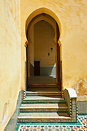 Interior courtyard of the Mauseleum of Moulay Ismaïl Ibn Sharif , reigned 1672–1727. A UNESCO World Heritage Site .Meknes, Meknes-Tafilalet, Morocco. .<br /> <br /> Visit our MOROCCO HISTORIC PLAXES PHOTO COLLECTIONS for more   photos  to download or buy as prints https://funkystock.photoshelter.com/gallery-collection/Morocco-Pictures-Photos-and-Images/C0000ds6t1_cvhPo<br /> .<br /> <br /> Visit our ISLAMIC HISTORICAL PLACES PHOTO COLLECTIONS for more photos to download or buy as wall art prints https://funkystock.photoshelter.com/gallery-collection/Islam-Islamic-Historic-Places-Architecture-Pictures-Images-of/C0000n7SGOHt9XWI