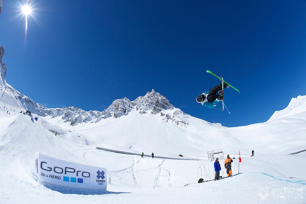 Joss Christiansen during  Ski Slopestyle Practice at the 2013 X Games Tignes in Tignes, France. ©Brett Wilhelm/ESPN