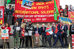 London, UK. 1st May, 2019. A young speaker from Extinction Rebellion addresses representatives of trade unions and socialist and communist parties from many different countries attending the annual May Day rally in Trafalgar Square to mark International Workers' Day.