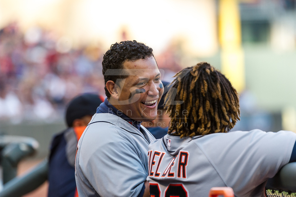 Miguel Cabrera #24 of the Detroit Tigers smiles while talking to Prince Fielder #28 during a game against the Minnesota Twins on September 29, 2012 at Target Field in Minneapolis, Minnesota.  The Tigers defeated the Twins 6 to 4.  Photo: Ben Krause