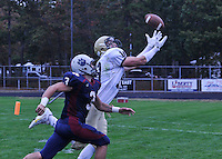 Lacey Twp. hosted Southern Regional in footbal on Saturday, October 19, 2013. Mike Gesicki of Southern is unable to haul in a pass on his fingertips. He is defended by Lacey's Chris Jensen (3). /Russ DeSantis/For The Star Ledger