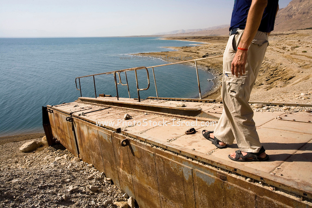 Israel, Dead Sea, An old pier, tens of meters higher than the current water level. On Nov 3, 2008. The shore line is receding at a rate of approximately 15 cm every month.