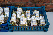 Fresh asparagus for sale at a Spilmans farm gate on 15th April 2010 in the village of Helperby, North Yorkshire, United Kingdom.