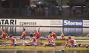 Bled, Slovenia, YUGOSLAVIA.   TCH 4+, celebrate a silver medal  in the men's Coxed Four at the 1989 World Rowing Championships, Lake Bled. [Mandatory Credit. Peter Spurrier/Intersport Images]  Silver TCH M4+, Michal SUBRT, Pavel MENSIK, Dusan VICIK Stroke Dusan MACHACEK cox Jiri PTAK  Bronze medal GBR M4+, bow Steve TURNER, Matthew PINSENT, Gavin STEWART stroke Terence DILLON cox Thomas VAUGHAN.