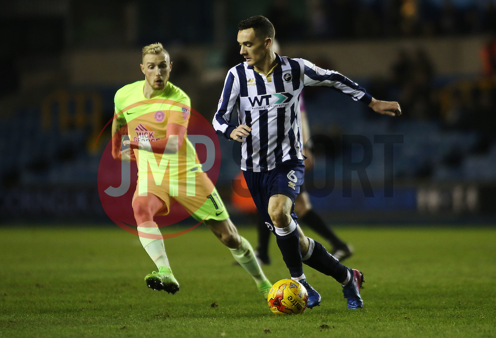 Shaun Williams of Millwall is tracked by Marcus Maddison of Peterborough United - Mandatory by-line: Joe Dent/JMP - 28/02/2017 - FOOTBALL - The Den - London, England - Millwall v Peterborough United - Sky Bet League One