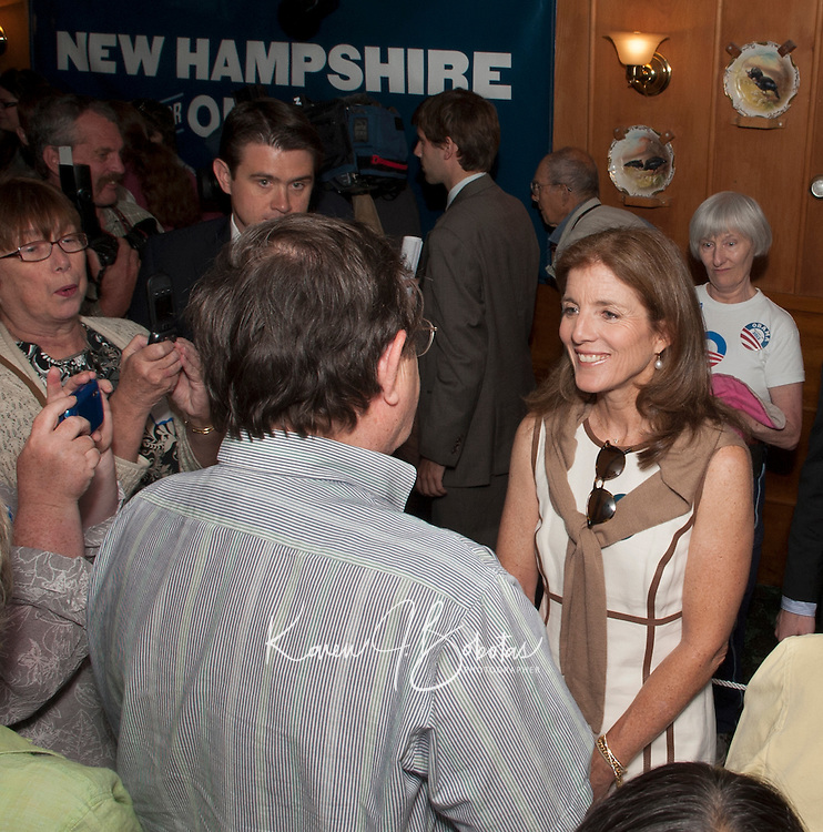 Caroline Kennedy speaks at Harts Turkey Farm in Meredtih, New Hampshire in support of President Barack Obama Thursday, June 28, 2012.   (Karen Bobotas/for the Laconia Daily Sun)
