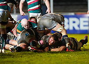 Sale Sharks lock Cobus Wiese dives over to score a try during a Gallagher Premiership Round 7 Rugby Union match, Friday, Jan. 29, 2021, in Leicester, United Kingdom. (Steve Flynn/Image of Sport)