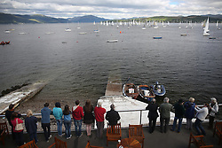 The Silvers Marine Scottish Series 2014, organised by the  Clyde Cruising Club,  celebrates it's 40th anniversary.<br /> Day 1, spectators gather at the start off RGYC<br /> <br /> Racing on Loch Fyne from 23rd-26th May 2014<br /> <br /> Credit : Marc Turner / PFM