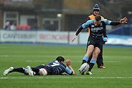 Cardiff Blues Gareth Anscombe (r) levels the game at 3-3 with this penalty. Guinness Pro12 rugby match, Cardiff Blues v Leinster Rugby at the Cardiff Arms Park in Cardiff, South Wales on Saturday 20th Feb 2016.<br /> pic by Carl Robertson, Andrew Orchard sports photography.