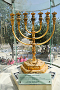 Israel, Jerusalem, Old City, Replica of the Golden temple Menorah