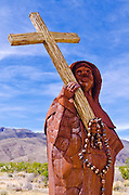 Metal sculpture of Father Francisco Garces by Ricardo Breceda at Galleta Meadows Estate, Borrego Springs, California USA