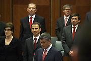 Feb 17, 2008 - Pristina, Kosovo - Kosovo Prime Minister Mr. Hashim THACI, reading the Declaration for Independence in the Kosovo Parliament Assembly-Room. Behind him, are different Ministers of his actual government.<br /> (Credit Image: © Vedat Xhymshiti/ZUMA Press)
