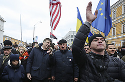 February 4, 2018 - Kiev, Ukraine - Ukrainian opposition figure and Georgian former President Mikheil Saakashvili takes part in a procession during a rally against Ukraine's President Petro Poroshenko in  Kyiv, Ukraine February 4, 2018. (Credit Image: © Sergii Kharchenko/NurPhoto via ZUMA Press)