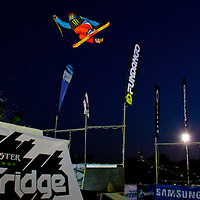 Peter Csanaky from Hungary performs his trick during the freestyle skiing competition held on the 35 meters high artificial ski jumping ramp on the Monster Energy Fridge Festival in central Budapest, Hungary on November 12, 2011. ATTILA VOLGYI