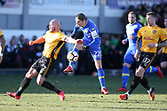 Pawel Cibicki of Leeds Utd has a shot at goal blocked by David Pipe of Newport county. Emirates FA Cup , 3rd round match, Newport county v Leeds Utd at Rodney Parade in Newport, South Wales on Sunday 7th January 2018.<br /> pic by Andrew Orchard,  Andrew Orchard sports photography.