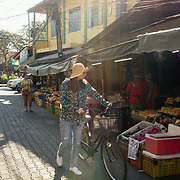 Street scene outside of local fresh market in Chiang Mai