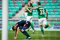 Đorđe Ivanovic of NK Olimpija Ljubljana with Angel Lyaskov  of NK Olimpija Ljubljana during football match between NK Olimpija Ljubljana (SLO) and HSK Zrinjski Mostar (BIH) in Second Round of UEFA Europa League Qualifications, on September 17, 2020 in Stadium Stozice, Ljubljana, Slovenia. Photo by Grega Valancic / Sportida