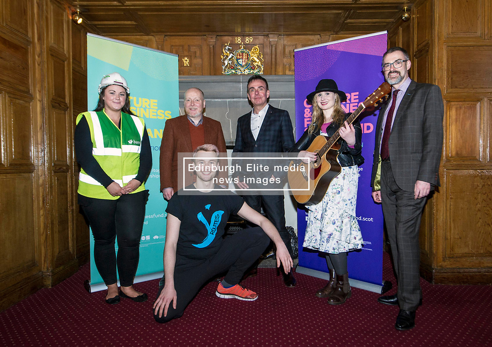 EMBARGOED UNTIL 00:01 3 APRIL 2017  FREE TO USE  FREE TO USE FREE TO USE<br /> Pictured: Laura Wilson, BAM construction, David Watt, Chief Executive, Arts and Business Scotland, Carl Watt, Head of Programmes, Arts and Business Scotland, Louise Quinn, Tromolo Productions, Brian Inkster, Inkster Solicitors (front) Sam Burkett, Y Dance.<br /> On Friday, Culture Secretary Fiona Hyslop visited Edinburgh Castle and launched the Culture & Business Fund Scotland. Funded by the Scottish Government via Creative Scotland and Historic Environment Scotland the fund will encourage the development of arts, heritage and business partnerships<br /> <br /> Ger Harley | EEm 31 March 2017