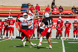 NORMAL, IL - August 14: Damien Jackson, Jackson Waring during a college football pre-season scrimmage of the  ISU (Illinois State University) Redbirds August 14 2021 at Hancock Stadium in Normal, IL. (Photo by Alan Look)