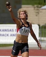 Germany's Annelie Schrader competes in the shot put of the heptathlon, at the Nike Combined Events Challenge at the R.V. Christian Track Complex on the campus of Kansas State University in Manhattan, Kansas, August 5, 2006.