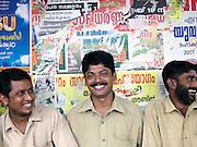 Rickshaw drivers during the monsoon season, Cochin, Kerala, India