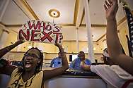 "Protester inside a police station in the French Quarter in New Orleans during a protest for  for Michael Brown. Hundreds gathered for a vigil and a protest in solidarity with the people of Ferguson Missouri, in New Orleans on Aug. 14th at 6 pm. for Michael Brown who was killed by police in Ferguson on August 9, 2014.<br /> After the vigil they took to the streets and marched to the police station on Royal Street. Before entering the lobby and holding an impromptu rally they chanted  ""Hands up, don't shoot,"" in front of the station's entrance"