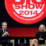 IBM Chairman and CEO Ginni Rometty and Macy's Chairman and CEO Terry Lundgren discuss how retailers are being affected by new technologies such as analytics and cloud computing at the National Retail Federation's 103rd Annual Convention & Expo at the Jacob K. Javits Convention Center in New York City on Monday, January 13, 2014. (Feature Photo Service)