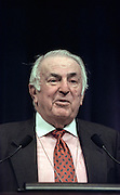 Conference Chairman Abner J. Mikva at the opening ceremony for the Conference on Holocaust-Era Assets at the US Holocaust Museum November 30, 1998 in Washington, DC.
