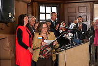 Karmen Gifford Lakes Region Chamber of Commerce welcomes Ruth Sterling and Laconia officials during Friday afternoons press conference announcing Laconia as the host for the 25th anniversary New Hampshire Pumpkin Festival to be held Saturday, October 24, 2015.  (Karen Bobotas/for the Laconia Daily Sun)