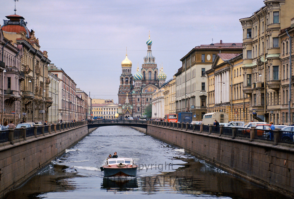 Boat on canal in St Petersburg, Russia