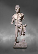 Roman statue of  Dioscuri. Marble. Perge. 2nd century AD. Inv no 2014/175. Antalya Archaeology Museum; Turkey.  Against a grey background .<br /> <br /> If you prefer to buy from our ALAMY STOCK LIBRARY page at https://www.alamy.com/portfolio/paul-williams-funkystock/greco-roman-sculptures.html . Type -    Antalya     - into LOWER SEARCH WITHIN GALLERY box - Refine search by adding a subject, place, background colour, museum etc.<br /> <br /> Visit our ROMAN WORLD PHOTO COLLECTIONS for more photos to download or buy as wall art prints https://funkystock.photoshelter.com/gallery-collection/The-Romans-Art-Artefacts-Antiquities-Historic-Sites-Pictures-Images/C0000r2uLJJo9_s0