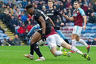 VAR - Burnley forward Matej Vydra (27) goes down in the box  penalty given but VAR check rules no penalty during the The FA Cup 3rd round match between Burnley and Barnsley at Turf Moor, Burnley, England on 5 January 2019.