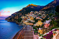 """""""The dawn awakens the flowers in Positano""""…<br /> <br /> After a solemn sunrise morning where I essentially had Positano all to myself and before my strenuous journey down and back up the mountainside, I found my perfect vantage point upon the veranda of my favorite hotel, Albergo California, where I spent photographing the sunset on the first evening in Positano.  The veranda also became my favorite spot to watch the flowers awaken on the bella Amalfi Coast.  There was only one occasion that I was really able to pre-plan taking photos at sunrise and that was during the last day of three in Positano.  It takes much planning, logistics, and familiarity to figure the best locations and the proper angles and positions of the sun.  My third morning was ideal and fortuitous as it began raining about 10:00 am which presented perfect clouds for sunrise, finally ending with a very cold wind just in time for sunset.  This image is one of the rare photos of a slumbering Positano in the dewing morning around 6:30 am at the end of May….the beginning of peak tourist season.  By 8:00 am, this tiny seaside village is bustling with tourists and shop owners, and restaurateurs trying to satisfy every need.  All in all, Positano was by far the plushest of all the locations I visited in Italy, and I was blessed to witness everything in full bloom."""