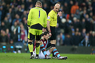 Leicester city goalkeeper Kasper Schmeichel and referee Roger East look on at Libor Kozak of Aston Villa (on ground) after Robert Huth of Leicester city had brought the Villa player down in the penalty area but no penalty is awarded. Barclays Premier league match, Aston Villa v Leicester city at Villa Park in Birmingham, The Midlands on Saturday 16th January 2016.<br /> pic by Andrew Orchard, Andrew Orchard sports photography.