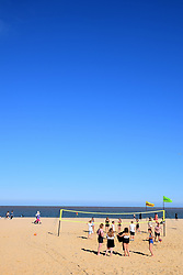 Beach volleyball, First Light Festival, Lowestoft Suffolk 22 June 2019. 24 hour festival across the summer solstice weekend held on the beach at Britain's most easterly point. UK