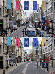© Licensed to London News Pictures. 12/04/2021. London, UK. Paired images showing a busy Oxford Street on Monday 12 April 2021 (TOP) after shops reopened, and the same location the day before, Sunday 11 April 2021 (BOTTOM), when shops were closed. Pubs, restaurants and non-essential shops reopened on Monday 12 April 2021 as England begins the second phase of 'unlocking' after months of lockdown. Photo credit: Rob Pinney/LNP