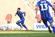 Max Ehmer of Gillingham (5) scores a goal and celebrates to make the score 2-3 during the EFL Sky Bet League 1 match between Doncaster Rovers and Gillingham at the Keepmoat Stadium, Doncaster, England on 20 October 2018.