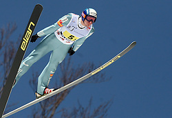 Robert Kranjec during first series of team event of FIS Ski jumping World Cup finals in Planica, Slovenia.  Team event of FIS Ski jumping World cup were held in Planica, Slovenia, on K215 ski flying hill on March 15, 2008. (Photo by Vid Ponikvar / Sportal Images)./ Sportida)
