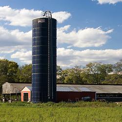 A silo at Boggy Meadow Farm in Walpole, New Hampshire.