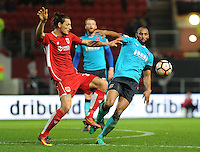 Bristol City's Milan Djuric vies for possession with Fleetwood Town's Nathan Pond<br /> <br /> Photographer Ashley Crowden/CameraSport<br /> <br /> Emirates FA Cup Third Round - Bristol City v Fleetwood Town - Saturday 7th January 2017 - Ashton Gate - Bristol<br />  <br /> World Copyright © 2017 CameraSport. All rights reserved. 43 Linden Ave. Countesthorpe. Leicester. England. LE8 5PG - Tel: +44 (0) 116 277 4147 - admin@camerasport.com - www.camerasport.com