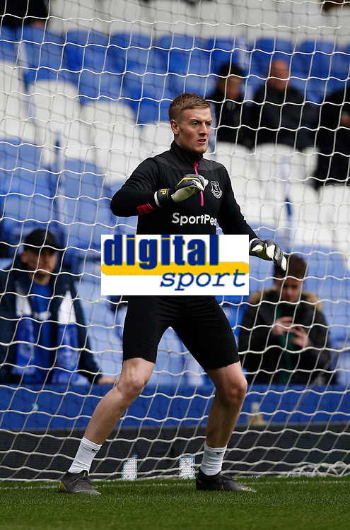 Football - 2018 / 2019 Premier League - Everton vs. Arsenal<br /> <br /> Everton keeper Jordan Pickford in the warm up before today's game, at Goodison Park.<br /> <br /> COLORSPORT/ALAN MARTIN