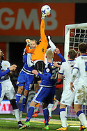 Leeds United goalkeeper © Marco Silvestri rises highest to push the ball behind for a corner. Skybet football league championship match, Cardiff city v Leeds Utd at the Cardiff city stadium in Cardiff, South Wales on Tuesday 8th March 2016.<br /> pic by Carl Robertson, Andrew Orchard sports photography.
