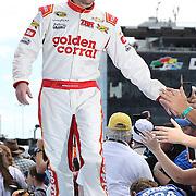 Race car driver Regan Smith is seen during driver introductions prior to the 58th Annual NASCAR Daytona 500 auto race at Daytona International Speedway on Sunday, February 21, 2016 in Daytona Beach, Florida.  (Alex Menendez via AP)