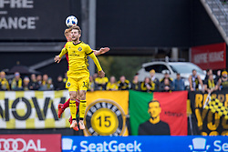 November 4, 2018 - Columbus, OH, U.S. - COLUMBUS, OH - NOVEMBER 04: Columbus Crew forward Patrick Mullins (32) heads the ball in the MLS eastern conference semifinals game between the Columbus Crew SC and the New York Red Bulls on November 04, 2018 at Mapfre Stadium in Columbus, OH. (Photo by Adam Lacy/Icon Sportswire) (Credit Image: © Adam Lacy/Icon SMI via ZUMA Press)