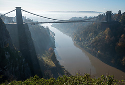 © Licensed to London News Pictures; 05/11/2020; Bristol, UK. Lockdown 2.0 during Covid-19. The Clifton Suspension Bridge on a misty morning of the first day of lockdown 2.0, the second lockdown imposed for England as the Government tries to stop the spread of the covid-19 coronavirus pandemic. From 05 November lockdown restrictions come into force across England with all pubs, bars restaurants and entertainment venues shut as well as all non-essential shops. People have been told to stay at home except for work, education, exercise or essential shopping and each person can only meet one other person from outside their household in an outdoors public space. Households must not mix with others indoors, or in private gardens. Photo credit: Simon Chapman/LNP.