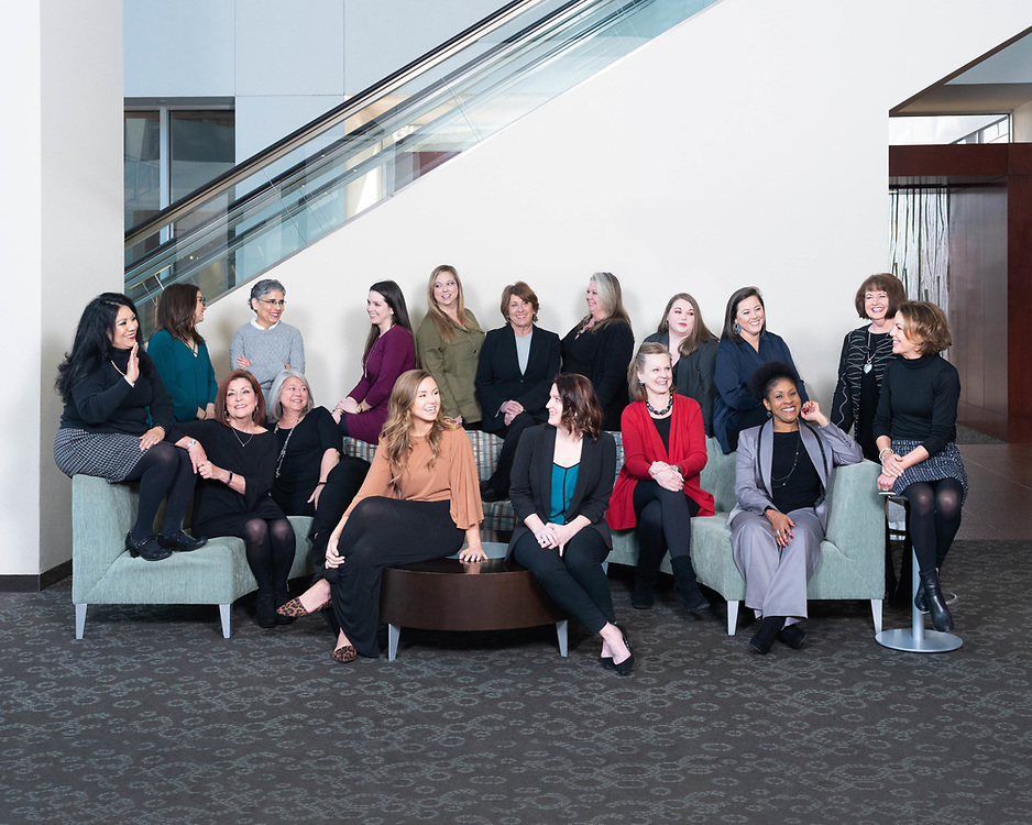 Group portrait of the women of Flake-Kelley. Created by Arkansas based commercial photographer, Alex Kent. Location: Simmons Tower • Little Rock, AR